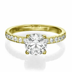 1.50 Ct D/si1 Brilliant Round Cut Diamond Engagement Ring 14k Yellow Gold