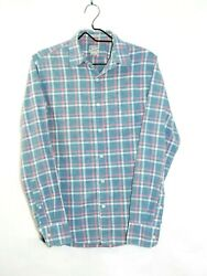 J.Crew Size Small Men's Slim Fit Shirt Button Up Long Sleeve Gray Blue Red Plaid $17.73