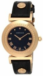 Versace Watch Vanity Black Dial Stainless Pgpvd Case Calf Leather P5q80d009s009
