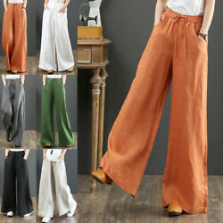 Womens Casual Cotton Linen Baggy Wide-leg Pants Loose Palazzo Flared Trousers Us