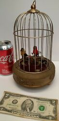 Antique German Musical Singing Birds Cage Automaton Music Box Wind Up Red Yellow