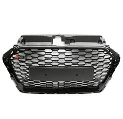 Front Mesh Rs3 Style Bumper Hood Black Hex Grille For 2017-2018 Audi A3 S3 8v