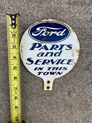 Ford Parts And Service Porcelain Pancake Sign Very Rare And Very Real Great Shape