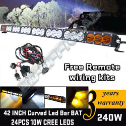 43inch Led Light Bar Curved Single Row Cree Flood Spot Combo Offroad Boat Car 42