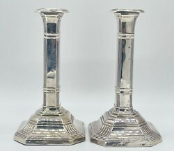 Antique Pair Of Sterling Silver Sheffield Candle Sticks 932 Grams