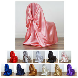 100 Pcs Silky Satin Universal Chair Covers Fits All Type Chairs Dinning Cover