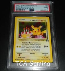 Psa 9 Mint Birthday Pikachu 24 Wotc Black Star Promo Holo Rare Pokemon Card