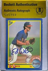 Ed Whited Signed 1990 Score 644 Rc Card Beckett Bas Coa Bgs Braves Auto Rare