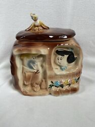 American Bisque Vintage And Rare Cookie Jar Of Barney And Betty Rubbleand039s Home.