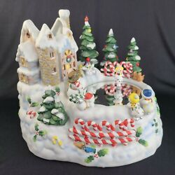 Partylite Christmas Music Box Snowbell Candle Holder Snowman Ice Skater Vid Read