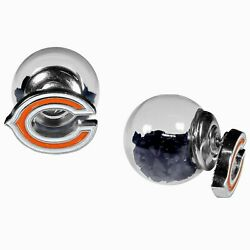 Chicago Bears Front/back Stud Earrings Nfl Football Jewelry