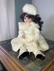"""Artist Doll Linda Lee Sutton Fully Jointed Mary Christmas Porcelain Muff Fur 21"""""""