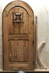 Rustic Reclaimed Lumber Arched Top Outswing Ava Door Speakeasy Wrought Iron