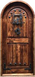 Rustic Reclaimed Lumber Arched Top Grapevine Winery Door Speakeasy Wrought Iron