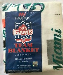 Vintage Nfl Miami Dolphins Blanket 72 X 90 Deadstock Old Stock Full Or Twin Size
