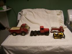 Vintage Lot 4 Small Tonka Trucks- Red Pickup Yellow Dozer Red Cab Red Firetruck