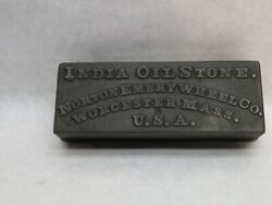 Vintage Cast Iron Norton Emery Wheel India Oil Stone Sharpening Tool Case Only
