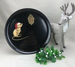Couroc Of Monterey Vintage Round Tray Christmas Mouse And Clock Santa Hat 10 3/8