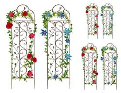 Garden Arched Trellis 2 Pc Set Steel Patio Plant Climbing Vines Yard Wall Fence