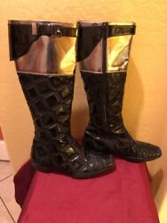 Authentic Ladies Gianni Versace Quilted Metallic Patent Boots.. Gorgeous.sz 37