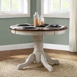 Farmhouse Dining Table Round French Country Kitchen Cottage Antique White Mocha
