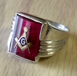 Rings Mens Masonic Mason Red Stone Gold Emblem Fraternal Sterling Silver Closed