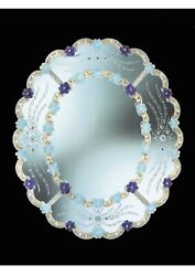 Mirror Oval In Murano Glass With Gold Cert 24 Made By Hand In Italia