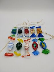 Lot Of 10 Murano Style Art Glass Candies - Candy - Ornament - Swirl