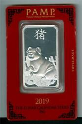 Pamp Suisse 2019 Year Of The Pig 1 Oz. .999 Silver Bar Gem Bu With Tiny Spots In