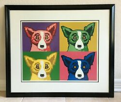 Rodrigue Blue Dog Original Silkscreen The Four Tops Signed And Numbered 37 Of 90