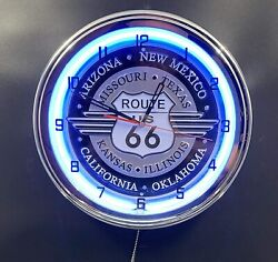 16 Route 66 Neon Clock With States With Pull Chain