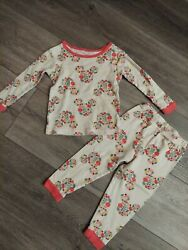 Euc Disney Junior Minnie Mouse Pj Set Size 2t Long Sleeve Pants Flowers Ears