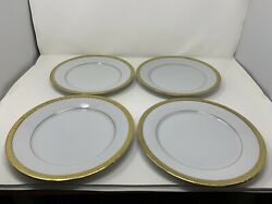 Set Of 8 Royal Gallery Discontinued Gold Buffet Dinner Plates 10.75 White