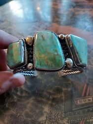 George Francis Turquoise Bracelet Cuff Mgd Sterling Navajo Silver Super Heavy
