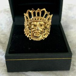 14k Gold Plated Mexico Tribal Chief Head Face Ring Headdress Artisan Size 7.5