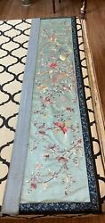 Antique Chinese Qing Dynasty Hand Embroidery Birthday Penal 48 X 148 Cm