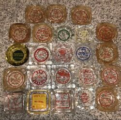 Lot Of 24 Vintage Shell Gas And Oil Glass Ash Trays Ashtray Service Station