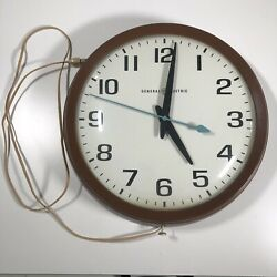 Vintage 1960s Ge General Electric 14 School Wall Clock 2012 Brown Made In Usa