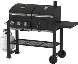 Dual Fuel Charcoal Gas Grill Combination Bbq Outdoor Cooking 3 Burner Cast Iron