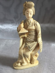 Beautiful Antique Japanese Carved Bottle Of A Geisha W/ Removable Head Stopper 1
