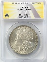 1902 Morgan Dollar Silver S1 Uncirculated Anacs Ms 60 Details Scratched