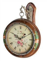 Victorian Trading Nwd Double Sided Floral Wooden Hanging Clock 46b