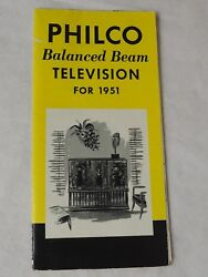 Philco Balanced Beam Television Models For 1951 18 X 12 Pamphlet