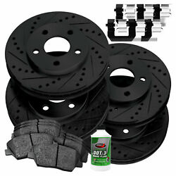[full Kit]powersport Black Drilled Slotted Rotors And Ceramic Pads Bbcc.50019.02