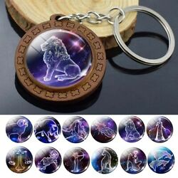 12 Constellation Keychain Single Sided Glass Cabochon Keyring Gift Jewelry