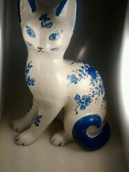 Super Cute Vintage Large Italy Hand Painted Ceramic Cat Figurine 14 Inches