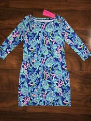 Lilly Pulitzer Corsica Blue Turtle Villa Sophie Dress Boat Neck Upf50+ Small Nwt