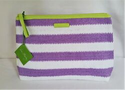 Vera Bradley Lilac Stripe Striped Cosmetic Large 13x8 Lined Bag Make Up CatchAll $21.98