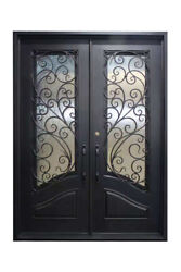 Katy Double Front Entry Wrought Iron Door Frost Glass 72 X 96 Right Active