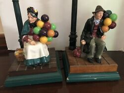 Royal Doulton Earlier Issue Old Balloon Seller Figurine Lamps Painted Wood Base